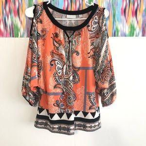 🦋3/$15 NY & Co cold shoulder blouse